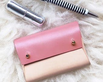 Personalised handmade mini leather pouch / business card holder - MILA painted Natural and Pink