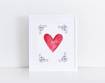 Grá (love) art print