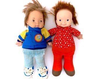 Vintage Fisher Price Doll Lot #206 Joey Lapsitter Boy and #203 Audrey Plush Soft Toy Stuffed 100% Complete Clothes 70s Original Rare Retro
