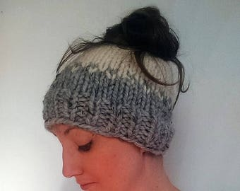 50% OFF SALE Knit Messy Bun Hat, Knit Ponytail Hat, Grey Knit Hat, Sigourney Hat Grey Marble Fisherman