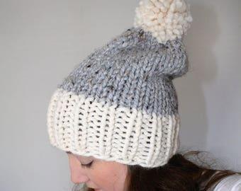 50% OFF SALE Knit Pom Pom Hat, Chunky Knit Hat, Slouchy Knit Hat, Knitted Hat, Knit Winter Hat, Grey Marble Fisherman - Fairfield Hat