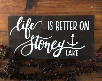 Life is Better on Our Lake - Custom Wood Sign - Cottage Decor - Home Decor - Rustic Sign - Wood Sign - Lakehouse Sign - Custom Lake Sign