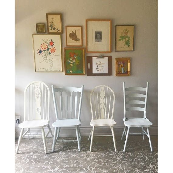 Farmhouse Chairs  set of four vintage farm chairs You choose the style and finish rustic provencial dining chairs