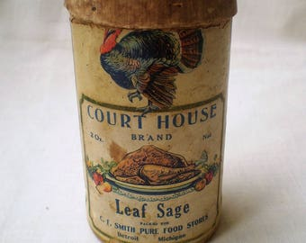 Antique Cardboard Seasoning Box-1900's