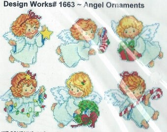 "Design Works ""Angel Ornaments"" plastic canvas Christmas ornaments kit #1663"