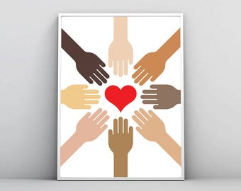 Hands Hearts Print, Skin Tone Color Wall Art, Love Equality Solidarity Fight Against Racism, Nursery Printable Poster, Digital File Download