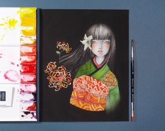 Giclee Print from Watercolor Painting Original Art - Japanese Pop Surrealism Flower Kimono Girl