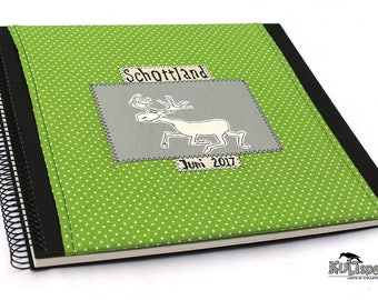 Large, green album, fabric, green dotted, elk drawing, handmade style, Made in Germany, retro-album, travel photo-album, scotland trip,