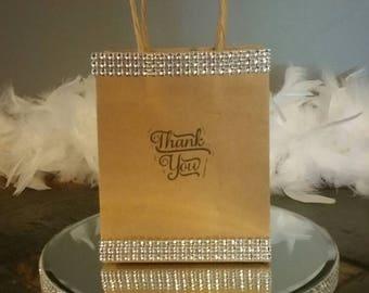 Clear Rhinestone Thank You Embellished Kraft Favor Bag set of 25
