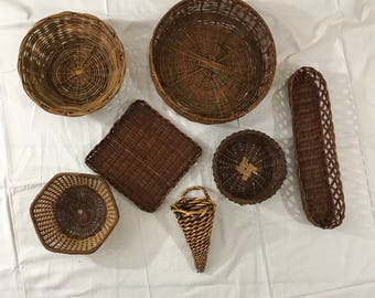 Wicker Rattan Wall Basket Set, Boho Wall Hanging Decor. Free Shipping