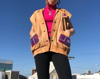 Vintage Soft Leather Vest w/ Fringe & Quilted Details