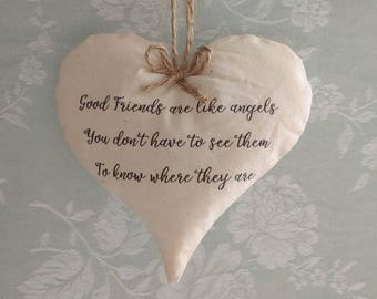 Good friends are like angels fabric hanging heart vintage shabby chic