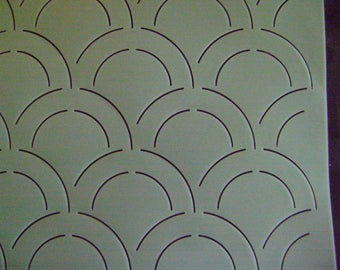 Sashiko Japanese Embroidery/Traditional Quilting Stencil 12 in. Double Clamshell 2 in, by 4 in. Motif Block/Quilting