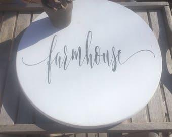 "Custom Lazy Susan Farmhouse,family decor,rustic turntable,18"" round wood,Shabby chic turntable,kitchen decor,lazy susan wood,wedding gift"