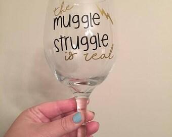 Muggle Struggle Wine Glass