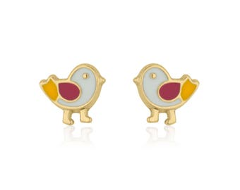 Solid Gold Studs, Bird Earrings, 14K Yellow Gold Earrings, Baby Girl Earrings, Tiny Earrings, Baby Girl Gift