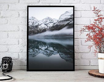 Home Wall Art Print, Mountain Art Print, Foggy Mountains Poster, Printable Poster,Lake water Instant download, digital, gallery