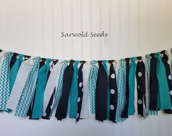 Teal, Black, Fabric Banner, Birthday, Highchair, Classroom, Nursery, Shower, Cake Smash, Photo Shoot, Rag Tie