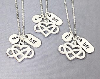 Bff jewelry, 3 best friend necklace, friend charm,best friends, forever,friendship pendant,personalized,monogram, bff jewelry, birthday gift