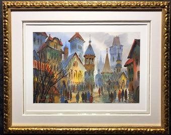A. KRASNYANSKY Original Watercolor Painting, Framed, Tru-Vue, COA