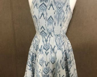 Lovely Short Denim Print Dress By Signature  Skater Dress Fit Small