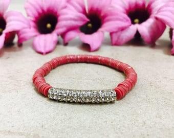 Ancient pink beaded bracelet rubber bracelet stretch beads bracelet