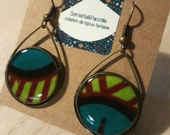 Asymmetrical earrings drops green and blue teal 20 mm/fabric wax and resin/handmade / many shapes possible to order