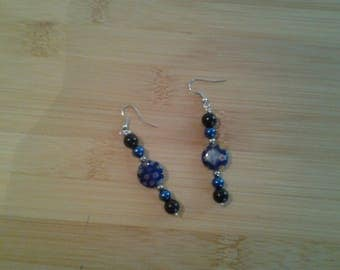 Pearl Earring black blue and silver