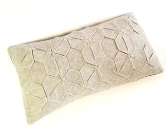 Grey felt pillow / rectangular pillow / handmade / geometrical pattern