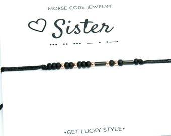 SISTER Morse code bracelet Sister bracelet Gift for sister Birtday gift for sis Black sister bracelet Black morse code bracelet