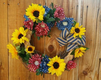 July 4th  Summer Sunflowers Americana Wreath Red White Blue Patriotic Memorial  Veterans Day Happy Birthday America ApronStringsOwlLady