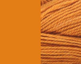 Wool, mandarin orange, bulky, 2 ply worsted thick pure wool yarn 100g/130m