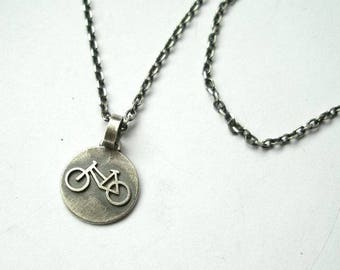 Small Silver Circle Pendant, Bicycle Charm, Bike Pendant