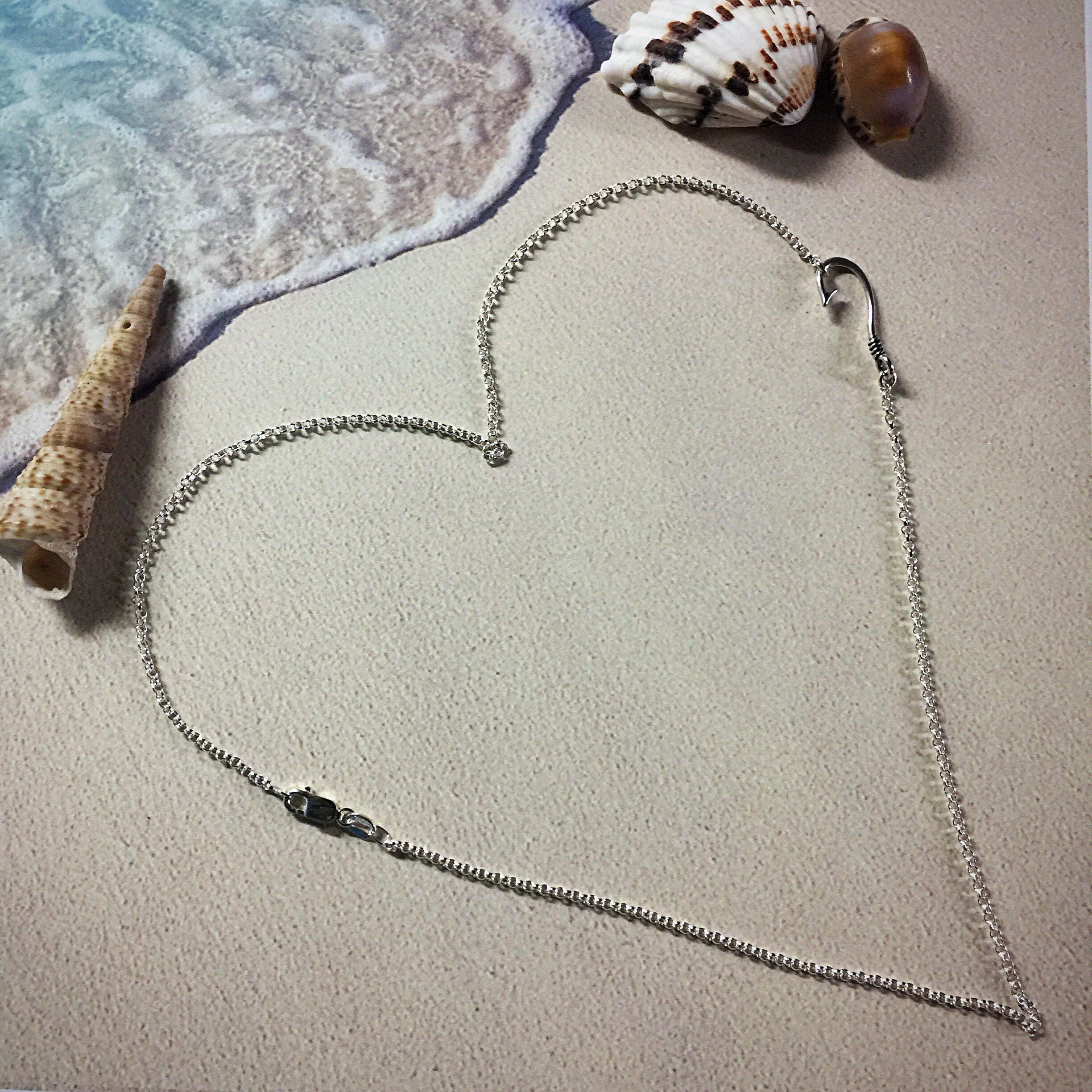 Sterling silver sideways fish hook necklace valentines for Silver fish hook necklace
