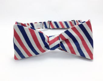Distressed Red and Blue Striped Bow Tie -Self Tie