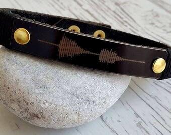 Mens Leather Bracelet, Customized Leather Bracelet, Men's Bracelet, Leather Bracelet, Sound Wave Mens Bracelet, Men Gift ,Gift for Friend