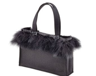 Fine elegant evening bag Soraya 100% merino wool design felt genuine Feathers 28 x 20 x 8 cm black