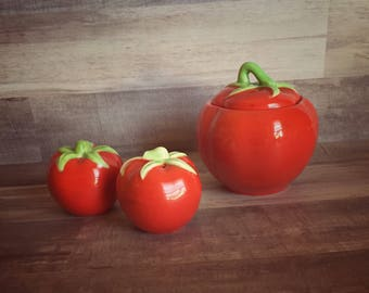 Vintage Pantry Parade Tomato Condiment Jar and Salt and Pepper Shakers