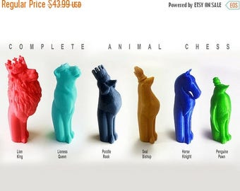 AUGUST SALE Animal Chess Set, Full Chess Set, Animal Themed