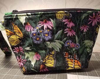 Butterflies and Pink Daisies Quilted Wristlet