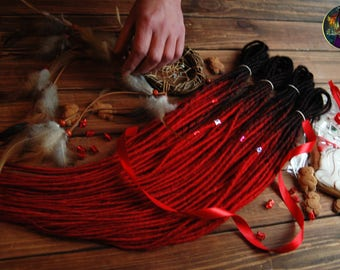 Full set ombre DE dreads black & red hair accessories extensions double ended dreadlocks