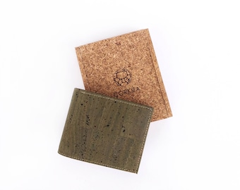 Oliver wallet - handcrafted with vegan olive green cork