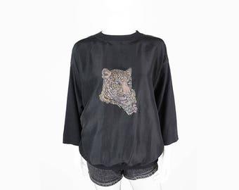 Vintage silk cotton blouse with a tiger motif