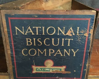 National Biscuit Box Vintage Wooden Crate Vintage Crate Vintage Wood Crate National Biscuit Crate Wooden Biscuit Crate Vintage Biscuit Crate