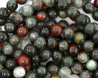 "10mm African blood agate round beads 15"" strand 39136"