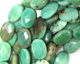 "13x18mm faceted green chrysoprase flat oval beads 15.5"" strand 31793"