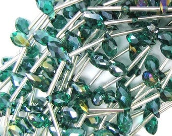 "6x12mm faceted quartz teardrop beads 15.5"" strand rainbow green 30252"