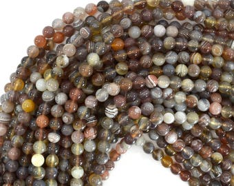 "6mm natural botswana agate round beads 15.5"" strand 39241"