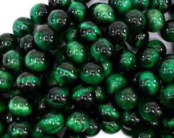 """10mm green tiger eye round beads 15.5"""" strand 38904"""