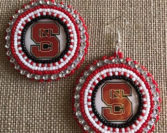 NC State Bead Embroidered Earrings Free Shipping Available